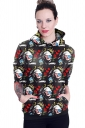 Womens Long Sleeve Marilyn Monroe Printed Pocket Pullover Hoodie Red
