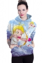 Womens Long Sleeve Cute Cupid Print Pocket Pullover Hoodie Light Blue