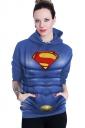 Womens Long Sleeve Superman Printed Pocket Pullover Hoodie Blue