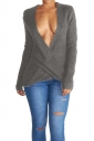 Womens Wrapped Plunging Neck Long Sleeve Pullover Sweater Gray