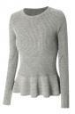 Womens Crewneck Long Sleeve Ruffled Hem Pullover Sweater Gray