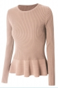 Womens Crewneck Long Sleeve Ruffled Hem Pullover Sweater Pink