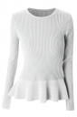 Womens Crewneck Long Sleeve Ruffled Hem Pullover Sweater White