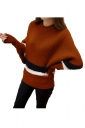 Womens Color Block Striped Long Sleeve Pullover Sweater Camel