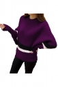 Womens Color Block Striped Long Sleeve Pullover Sweater Dark Purple