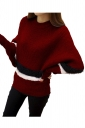 Womens Color Block Striped Long Sleeve Pullover Sweater Ruby