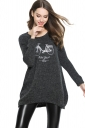 Womens Loose Bike Patterned Long Sleeve Pullover Sweater Dark Gray