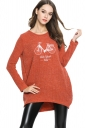 Womens Loose Bike Patterned Long Sleeve Pullover Sweater Tangerine