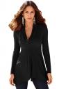 Womens Irregular Hemline Cowl Neck Long Sleeve Pullover Sweater Black