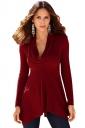 Womens Irregular Hemline Cowl Neck Long Sleeve Pullover Sweater Red