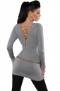 Womens Knit V Neck Chain Lace-up Back Long Sleeve Sweater Gray