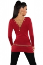Womens Knit V Neck Chain Lace-up Back Long Sleeve Sweater Red