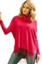 Womens Cowl Neck Fringe Hemline Long Sleeve Sweater Rose Red