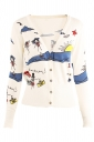 Womens V Neck Single-breasted Seashore Patterne Cardigan Sweater White