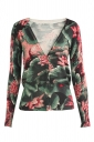 Womens V Neck Single-breasted Lotus Patterned Cardigan Sweater Green