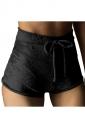 Womens Pleuche Drawstring High Waist Plain Mini Shorts Black