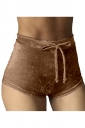 Womens Pleuche Drawstring High Waist Plain Mini Shorts Brown