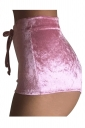 Womens Pleuche Drawstring High Waist Plain Mini Shorts Pink
