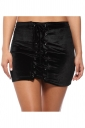 Womens High Waist Cross Lace-up Plain Mini Skirt Black