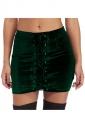 Womens High Waist Cross Lace-up Plain Mini Skirt Ruby