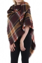 Womens Eyelash Tassel Color Block Plaid Shawl Scarf Coffee