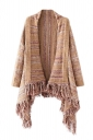 Womens Color Block Striped Fringed Long Sleeve Cardigan Sweater Khaki