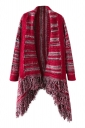 Womens Color Block Striped Fringed Long Sleeve Cardigan Sweater Red