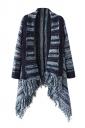 Womens Color Block Striped Fringed Hem Cardigan Sweater Navy Blue