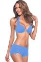 Womens 2-piece High Waist Drawstring Bottom Sports Bikini Set Blue