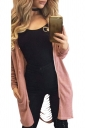 Womens Zip Up Ripped Back Long Sleeve Hooded Trench Coat Pink