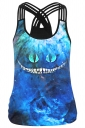 Womens Cheshire Cat Printed Criss Cross Strappy Camisole Top Blue