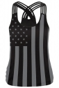 Womens Stripes and Stars Printed Cross Strappy Camisole Top Dark Gray