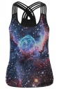 Womens Galaxy Printed Criss Cross Strappy Camisole Top Navy Blue