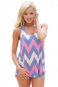 Womens Color Block Rhombus Printed Tank Top Blue