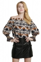 Womens Elastic Off Shoulder Retro Printed Long Sleeve Blouse Yellow
