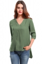 Womens V Neck Long Sleeve High Low Plain Blouse Army Green