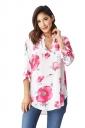 Womens V-neck Side Slit Floral Printed Long Sleeve Blouse White