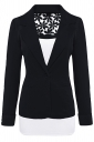 Womens Lace Embroidered One Button Long Sleeve Plain Blazer Black