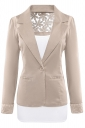 Womens Lace Embroidered One Button Long Sleeve Plain Blazer Khaki