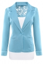 Womens Lace Embroidered One Button Long Sleeve Plain Blazer Light Blue