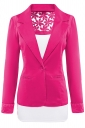 Womens Lace Embroidered One Button Long Sleeve Plain Blazer Rose Red