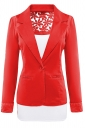 Womens Lace Embroidered One Button Long Sleeve Plain Blazer Red