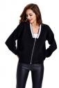 Womens Zip Up Long Sleeve Short Blazer Black