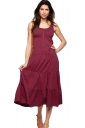 Womens Plain Button Decor Pleated Tank Dress Dark Red