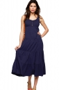 Womens Plain Button Decor Pleated Tank Dress Sapphire Blue