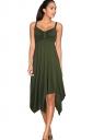 Womens Draped Bow Asymmetric Hem Sleeveless Midi Dress Army Green