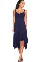 Womens Draped Bow Asymmetric Hem Sleeveless Midi Dress Sapphire Blue