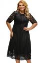 Womens Lace Splice Hollow Out Plus Size Short Sleeve Dress Black