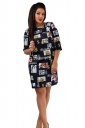 Womens Crewneck Beauty Printed Half Sleeve Shift Dress Black