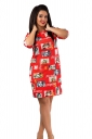 Womens Crewneck Beauty Printed Half Sleeve Shift Dress Red